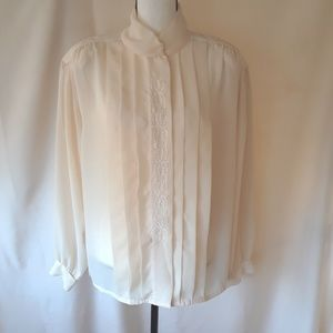 Alicia, Vintage 80's Pleated & Embroidered Blouse